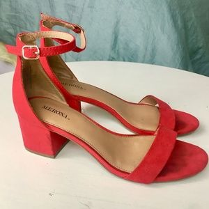 Red Suede Strappy Block Heel Sandal